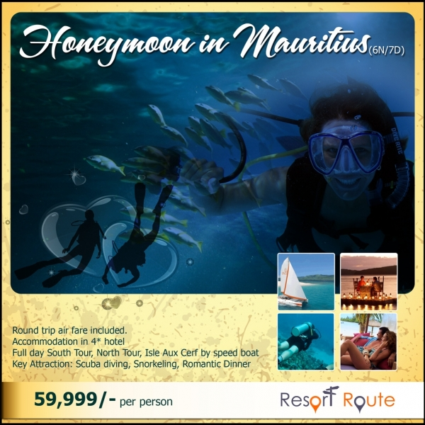 Tour Package - Mauritius Honeymoon Package 6Nights/7Days @49,999/-
